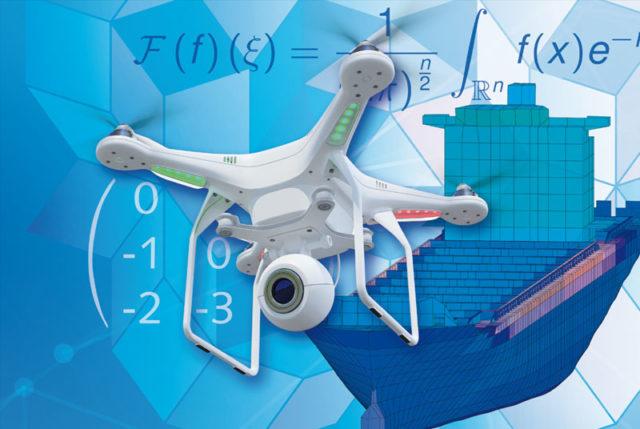 Collage mit Drohne und Schiff
