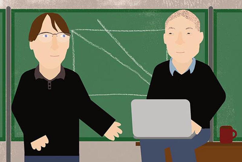 Mathematiker vor der Tafel