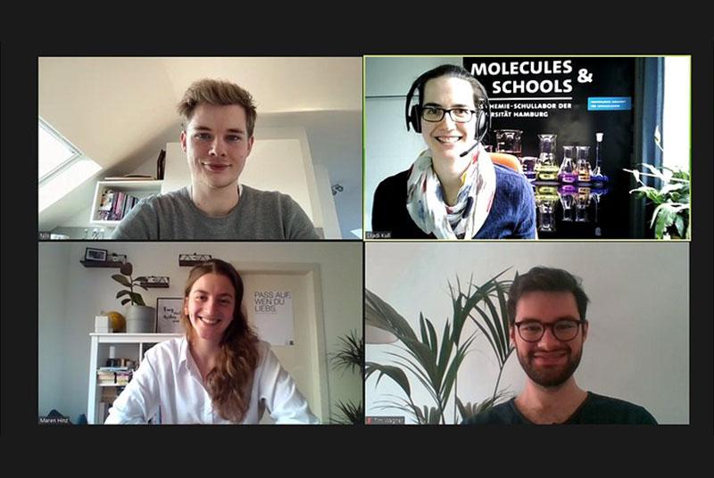 Dr. Skadi Kull (oben rechts) koordiniert das Schullabor und wird von Nils Dageförde (oben links), Maren Hinz und Tim Wagner unterstützt.